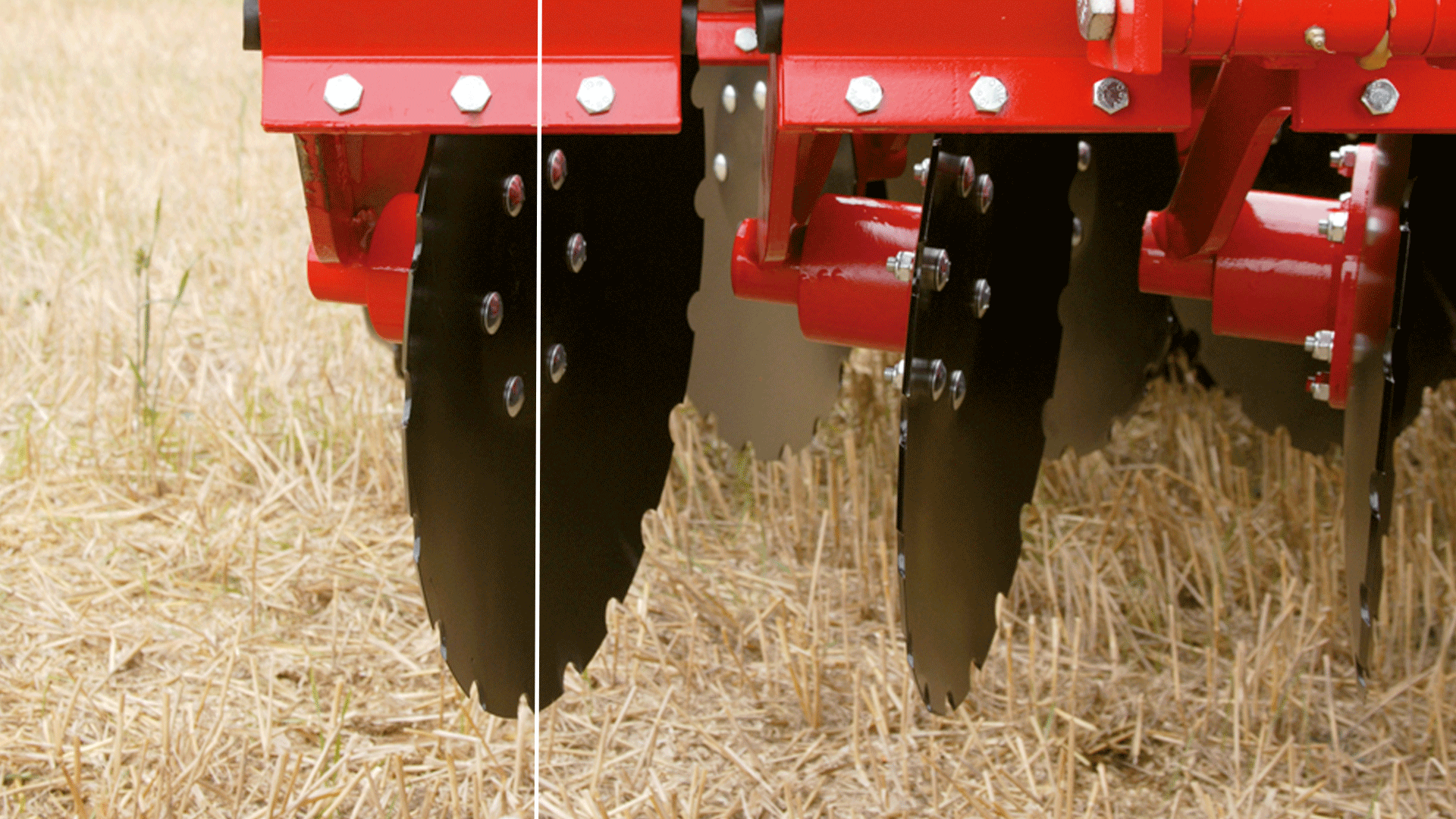 Using the Combi-Discs for tillage near the surface, the discs are almost perpendicular on the soil. Here, the discs press the soil horizontally down and the entire surface is moved. The vertical disc loosens the soil instead of pushing it outwards like a traditional concave disc does and the risk of smearing is reduced.