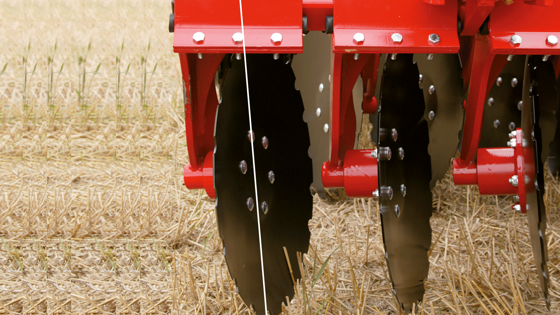 When the Combi-Disc is being used as a deep cultivator for residue mixing and incorporation, a more aggressive disc angle is required. The DSD-System automatically increases the aggressiveness of the disc angle relative to the soil surface. All this happens automatically and hydraulically as the depth of the discs is being altered by the tractor driver.